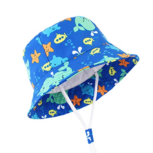 Durio Baby Hat Cute Baby Girl Sun Hats UPF 50+ Summer Toddler Bucket Hat Sun Protection Baby Boy Gifts Kids Blue Fish 20.5