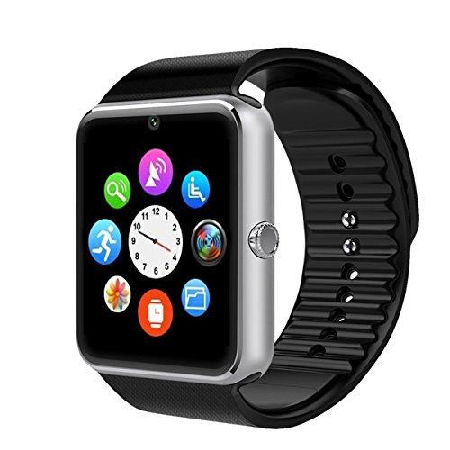 Kassica Bluetooth Smart Watch Waterproof Sports Wrist Watch Phone Wristwatch Unlocked Cell Phone Sweatproof Band with SIM Card Slot and NFC for IOS Iphone 5s/6/6s/7 and Android smart phone. (Silver) by KASSICA