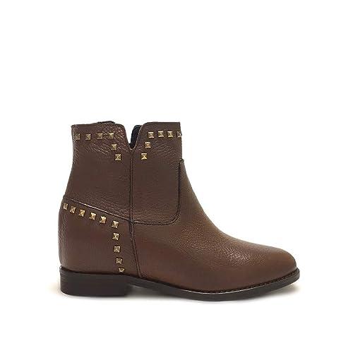 74ca32a354ed4a Shoe gar Stivaletti Cuoio con Borchie e Zeppa Interna Vera Pelle Made in  Italy  Amazon.it  Scarpe e borse