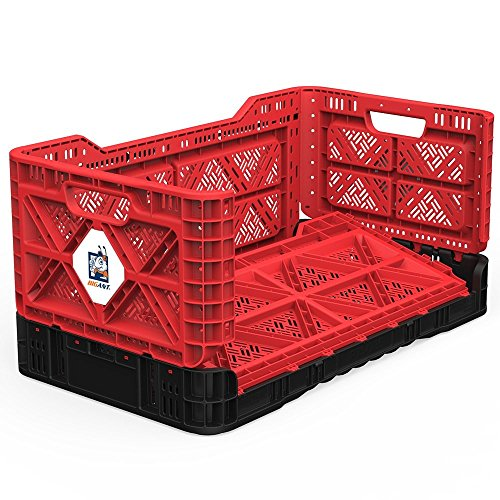 BIGANT Heavy Duty Collapsible & Stackable Plastic Milk Crate - IP734235, 23.8 Gallons, Large Size, Red, Set of 1, Absolute Snap Lock Foldable Industrial Storage Bin Container Utility Tote Basket (80 Lb Bin)