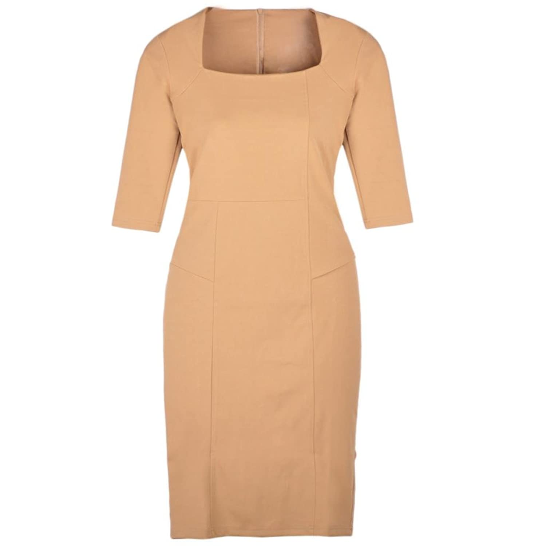 New Women Square Neck 3/4 Sleeve Bodycon Slim Pencil Dress