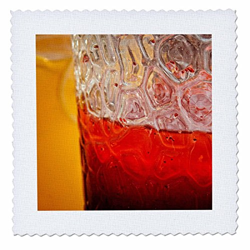 3dRose Alexis Photography - Drinks - Colorful red and yellow soft drinks in glass jars - 10x10 inch quilt square (qs_276055_1) - Pitcher Glass Quilt