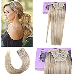 VeSunny 18inch Ponytail Hair Extensions Clip in Human Hair Color #18 Ash Brown Mixed #613 Bleach Blonde Real Human Hair Ponytail Clip on Extension 80g/set