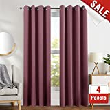 Cheap Blackout Curtains 84 inch Plum 4 Panels Grommet Top Thermal Insulated Window Treatment Room Darkening Drapes