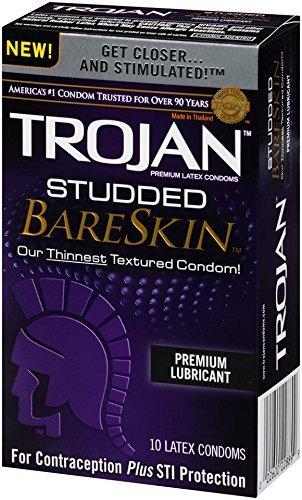 Trojan Studded Bareskin Premium Lubricated Condoms, 1 PACK OF 10 CONDOMS (Pack of 3) by Trojan