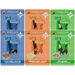 Weruva Cats In The Kitchen Grain Free 3 Flavor Variety 6 Pouch Bundle: (2) Pumpkin Lickin' Chicken, (2) Chick Magnet, and (2) 1 If By Land, 2 If By Sea, 3 Oz. Ea. (6 Pouches)