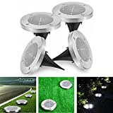 Solar Powered Lights Outdoor Ground Lights - HUATK Waterproof Garden Landscape Pathway Lights Automatically With 4 LEDS for Home, Yard, Lawn, Driveway White(4pack)