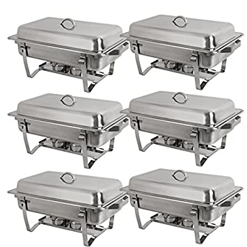 Stainless Steel Chafing Dish Full Size Chafer Beffet Set 6 Pack Of 8 Quart For