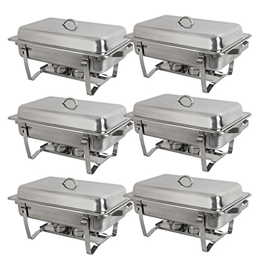 Stainless Steel Chafing Dish Full Size Chafer Dish Beffet Set 6 Pack of 8 Quart For Catering Buffet Warmer Tray Kitchen Party Dining (Rectangular) ()