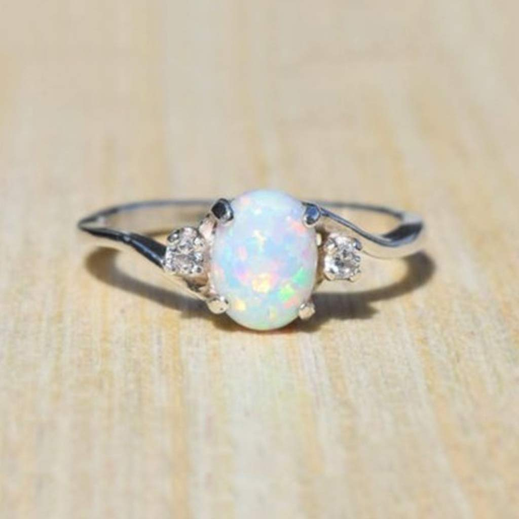 Naomi Exquisite Women's 925 Sterling Silver Ring Oval Cut Fire Opal Diamond Jewelry Birthday Proposal Gift Bridal Engagement Party Band Rings Size 5-11 White 5