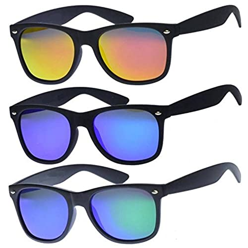 1418d3fcd7 3 Pairs Matte Black Wayfarer Sunglasses With Colorful Mirror lens - Blue  Green Orange Bulk high
