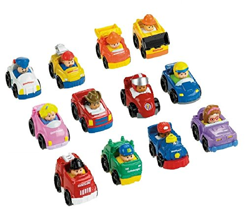 People Little Car Red - Fisher-Price Little People Wheelies Gift Set Bundle (12 Items)