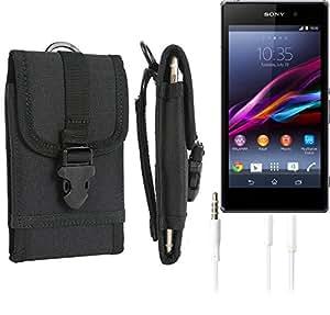 bolsa del cinturón / funda para Sony Xperia Z1, negro + Auriculares | caja del teléfono cubierta protectora bolso - K-S-Trade (TM)