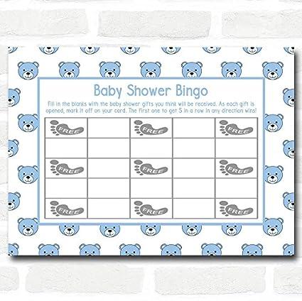 Boys Blue Teddys Baby Shower Games Bingo Cards Office