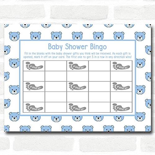 Boys Blue Teddys Baby Shower Games Bingo Cards by The Card Zoo