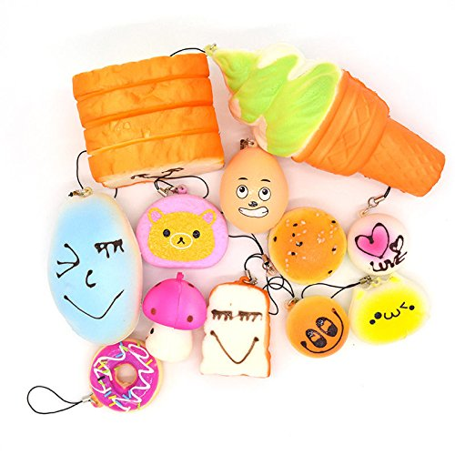 12PCS Jumbo Mini Squishy Bread Scented Toast (Galaxy Glow Mini Golf)