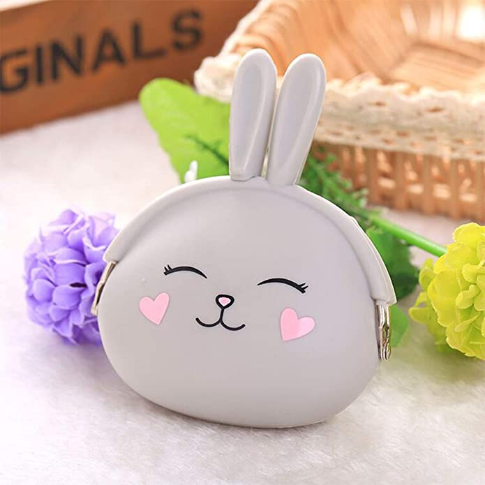 ROOVON Silicon Coin Purse Rabbit Coin Currency Pouch Wallet Gift for Kids.