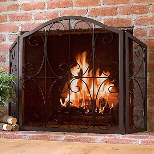 暖炉用品 アクセサ 錬鉄メッシュで安全暖炉スクリーン - インテリアスクロールデザイン、屋外ポルティコ立ち門、52×31.5inch