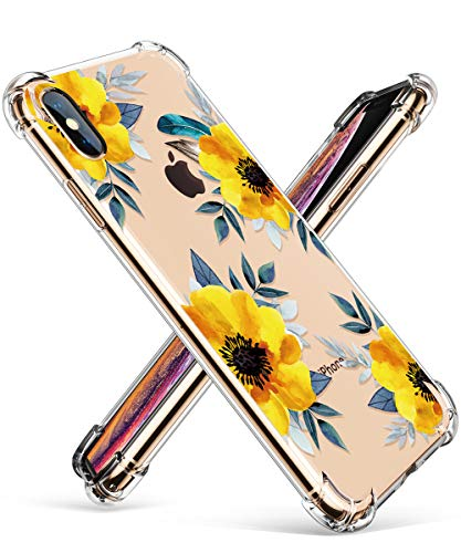 GVIEWIN Compatible for iPhone Xs/X Case, Clear Flower Pattern Design Soft & Flexible TPU Ultra-Thin Shockproof Transparent Girls Women Floral Cover, Cases iPhone X/iPhone 10 (Sunflowers/Yellow)