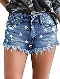 MODARANI Frayed Shorts for Women Strar Printed