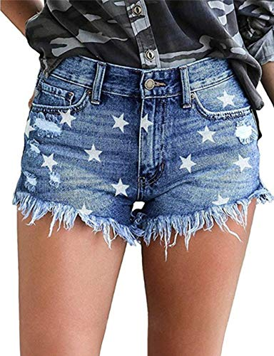MODARANI Frayed Denim Shorts for Women Ripped Mid-Rise Distressed Jean Shorts Strechy Wash Jeans Star Print M