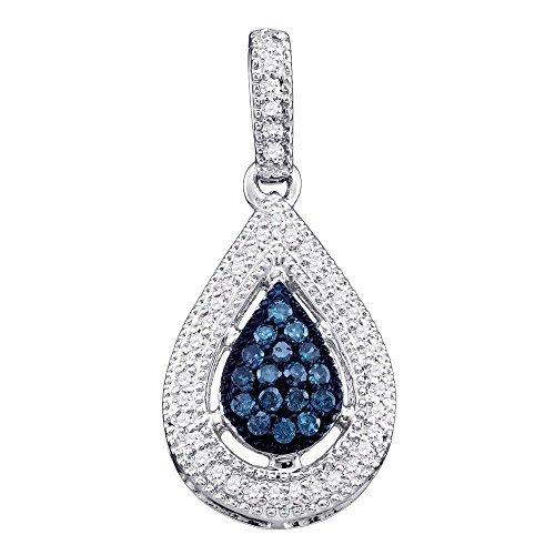 14kt White Gold Womens Round Blue Color Enhanced Diamond Teardrop Cluster Pendant 1/5 Cttw 14kt Gold Cluster Drop Necklace