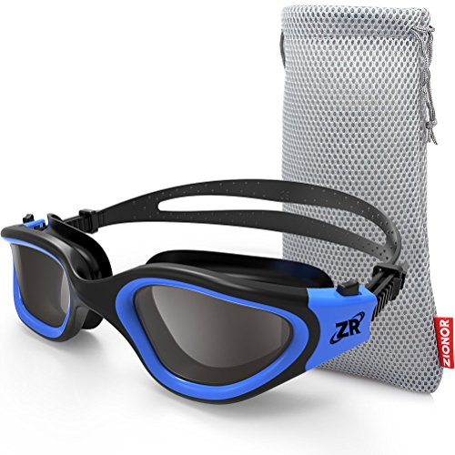 Zionor Swimming Goggles, G1 Polarized Swim Goggles with Mirror/Smoke Lens UV Protection Watertight Anti-fog Adjustable Strap Comfort fit for Unisex Adult Men and Women, Teenagers by Zionor
