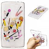 Qiaogle Phone Case - Soft TPU Silicone Case Cover Back Skin for LG G4c / G4 Mini (5.0 inch) - HC10 / Lip gloss + eyebrow pencil