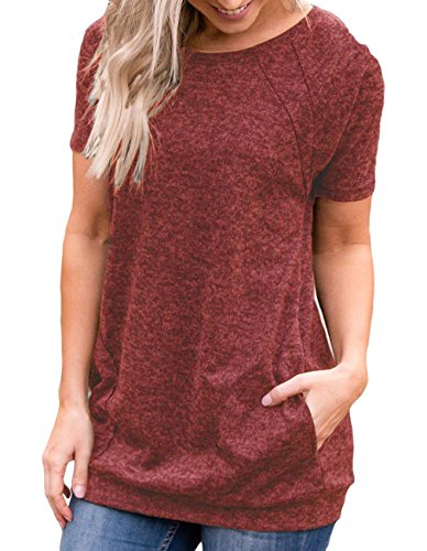 Women's Summer Round Neck Short Sleeve Blouse with Pocket Casual Loose Fit Quick Dry T Shirt Gym Workout Tunic Tops for Legging (M, Wine Mix Black)