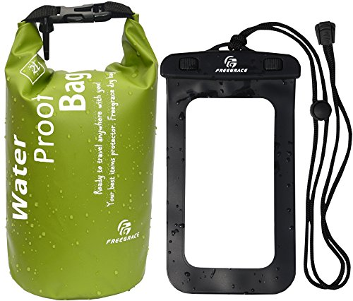 Dry bag - Lightweight Dry Sack with Seals and Waterproof Case -Float on Water -Keeps Gear Dry for Kayaking, Beach, Rafting, Boating, Hiking, Camping and Fishing (2L, Green) (Green Fishing Accessories)