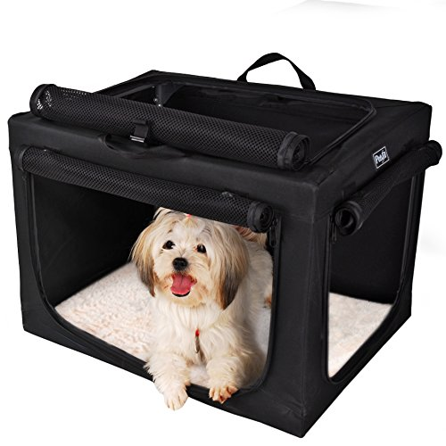 Petsfit Portable Soft Dog Crate Travle Dog Crate for Small to Medium Dog Soft Sided Pet Crate Black24 x 18″ x 17″ For Sale