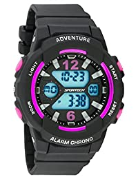 Unisex Watches by Sportech - Black and Mettallic Pink Active Digital Sport Watch - Make Every Second Count - SP12503