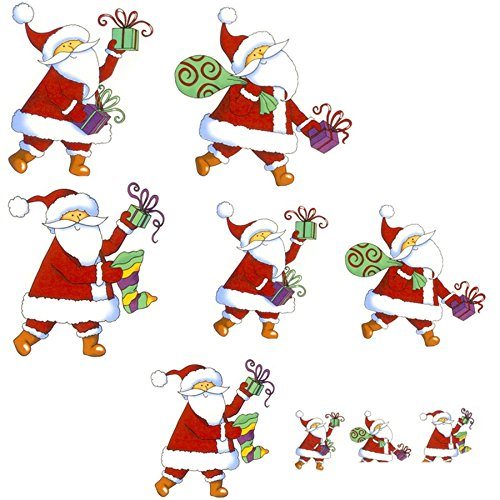 Fusible Decal Christmas Santas & Gifts Fused Glass or Ceramics