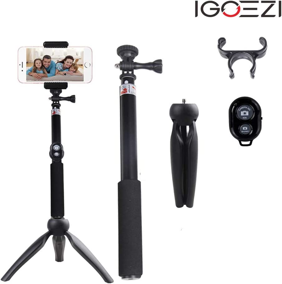IGOEZI 3in1 Handheld Bluetooth Tripod Monopod Selfie Stick for Cell Phone//Camera