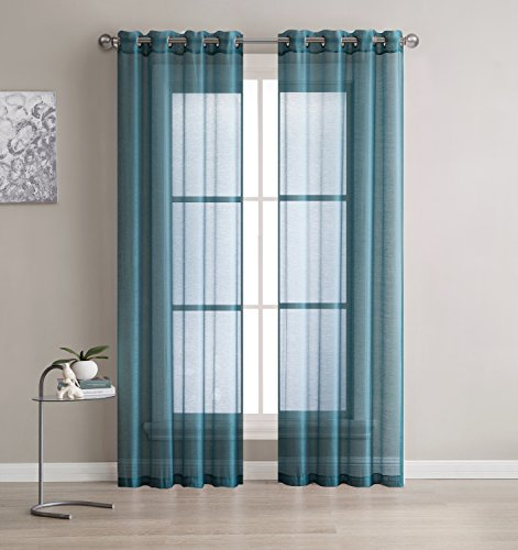 Grommet Semi-Sheer Curtains - 2 Pieces - Total Size 108 Inch Wide (54 Inch Each Panel) - 108 Inch Long - Panel Beautiful - Elegant - Natural Light Flow and Durable Material (Dusty Blue)