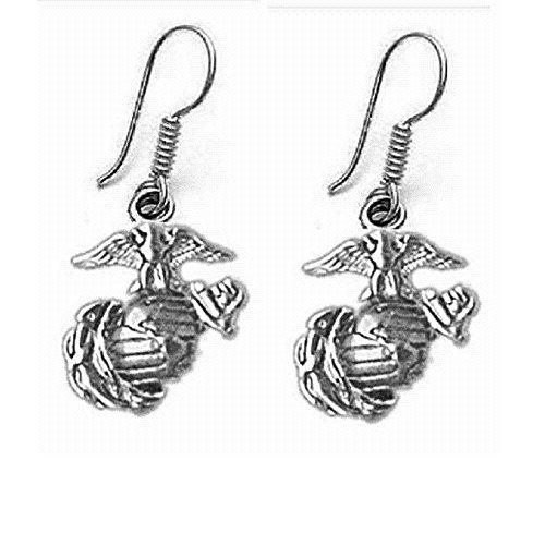 (Sterling Silver USMC MARINE CORPS LOGO Dangle Earrings, Made in USA)