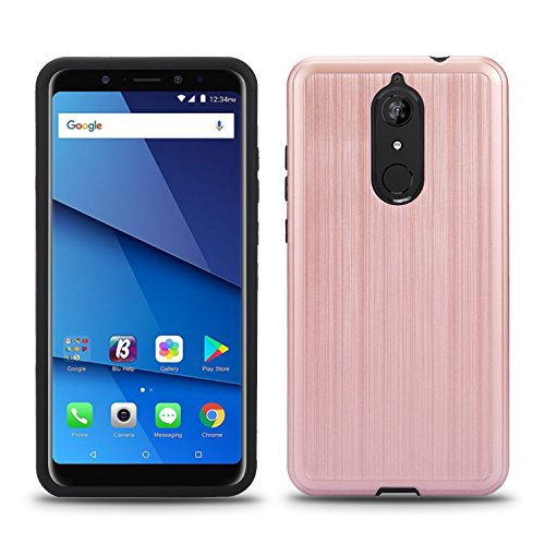 BLU Vivo XL3 Plus case, (V0210WW) 6 inch case, [ New Frontier Wireless], Tough Hybrid + Dual Layer Shockproof Drop Protection Metallic Brushed Case Cover for BLU Vivo XL3 Plus (VGC Rose Gold)