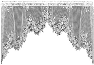 product image for Heritage Lace Tea Rose 60-Inch Wide by 30-Inch Drop Swag Pair, White
