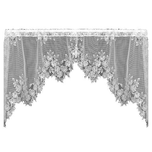 Heritage Lace Tea Rose 60-Inch Wide by 30-Inch Drop Swag Pair, Ecru