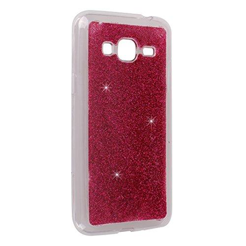 Galaxy J3 2016 Fundas, Galaxy J310 Silicona Carcasa, Moon mood® Suave TPU Silicona Trasero Caso Cubierta Protectora Funda Galaxy J320 Móvil Celular Concha Blanda Flexible Capas Caja del Teléfono Cásca Rosa Rojo