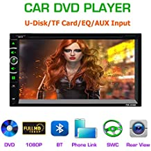 """LSLYA(TM) 6.95"""" Double DIN Steering Wheel Control Car Stereo DVD Car Radio Bluetooth Player Multimedia Radio Entertainment Support USB/TF FM Aux Input TV with HD Rear View Camera (6063B)"""