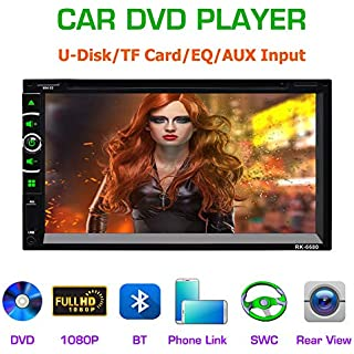 Sale LSLYA(TM) 6.95' Double DIN Steering Wheel Control Car Stereo DVD Car Radio Bluetooth Player Multimedia Radio Entertainment Support USB/TF FM Aux Input TV with HD Rear View Camera (6063B)