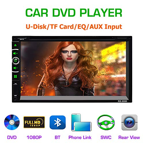 LSLYA(TM) 6.95 Double DIN Steering Wheel Control Car Stereo DVD Car Radio Bluetooth Player Multimedia Radio Entertainment Support USB/TF FM Aux Input TV with HD Rear View Camera (6063B)