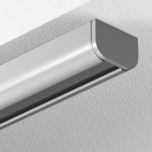 GARDUNA 150cm Schleuderschiene Gardinenschiene Vorhangschiene, Aluminium, silber, hochwertig eloxiert, 1-läufig