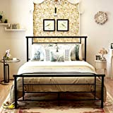 Metal Beds with Headboard and Footboard Mattress Foundation Metal Platform Slat Support Box Spring Replacement for Kids Adult Beds Black Queen Size