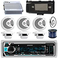 Kenwood KMRM318BT Marine Boat Audio Bluetooth USB Receiver W/ Protective Cover - Bundle Combo With 6x 6-1/2 150W Waterproof Stereo Speakers + Enrock Antenna + 400W Amplifier + 50-FT Wire