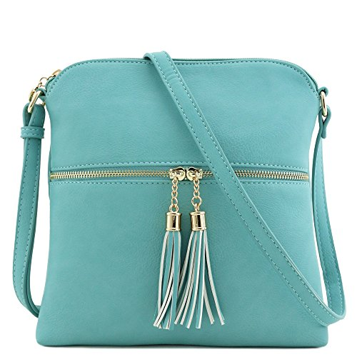 Tassel Zip Pocket Crossbody Bag (Turquoise) by FashionPuzzle