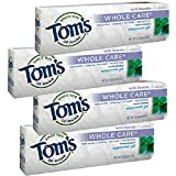 Tom's of Maine Whole Care with Fluoride Natural Toothpaste Gel, Peppermint 4.7 oz by Tom's of Maine