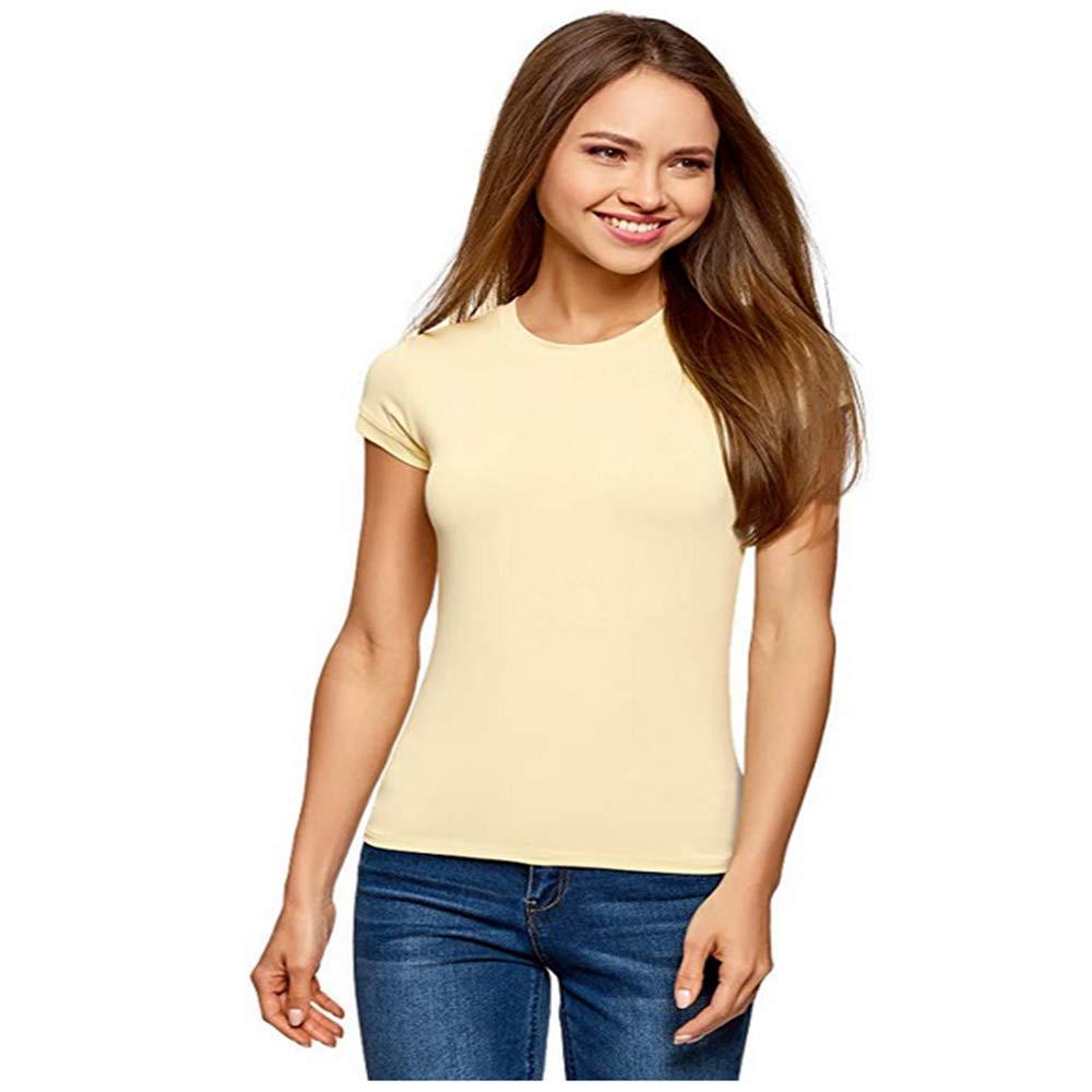 SGFV Donna T-Shirt dal Taglio Dritto con Scollo Rotondo