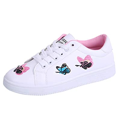 LHWY Sneakers Damen Sommer Frauen Flache Schuhe Schule Teens Mädchen Freizeitschuhe Mode Lässig Schmetterling Lace up Atmungsaktive Turnschuhe Sport